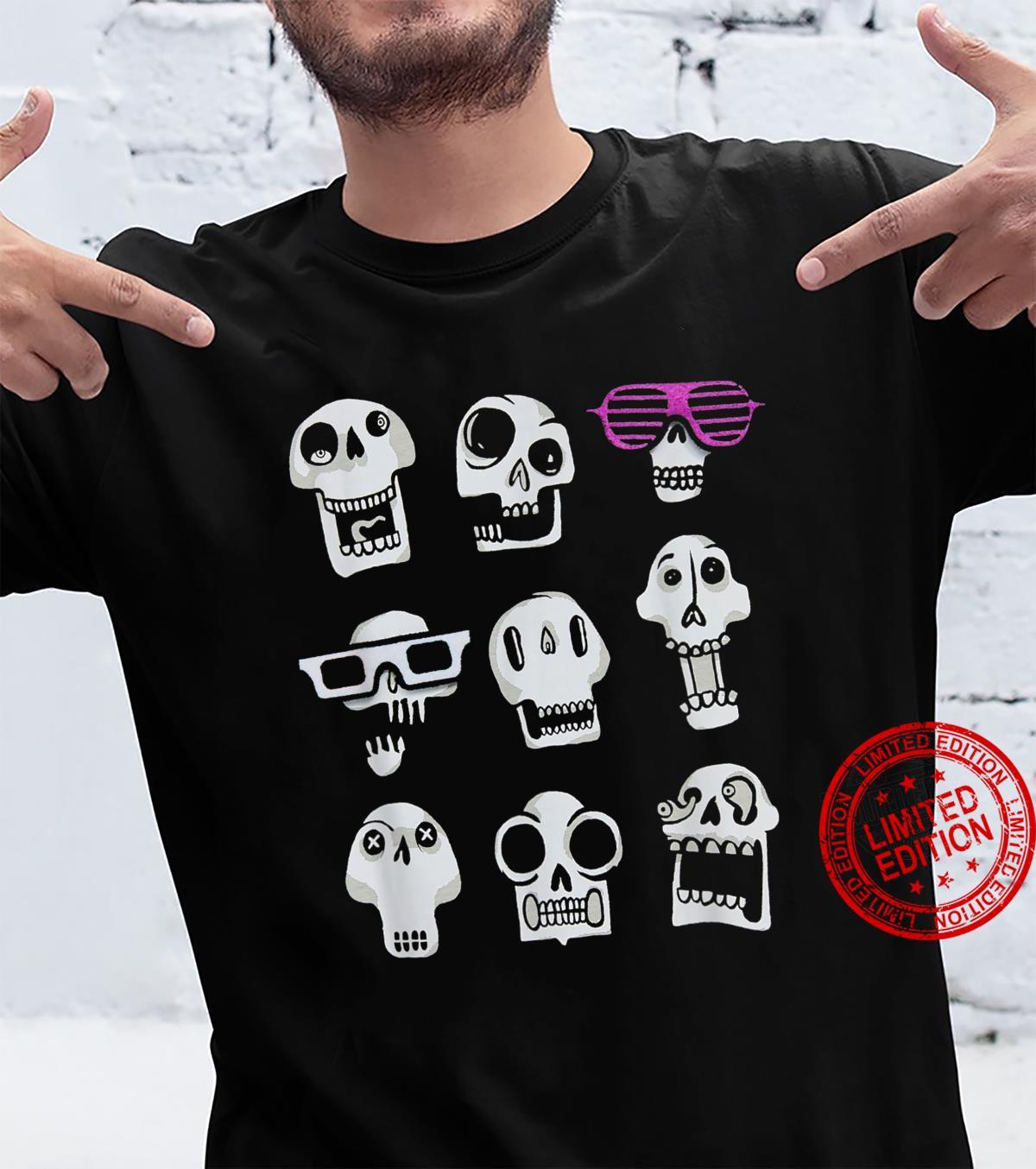 Halloween skull emoji expressions shirt