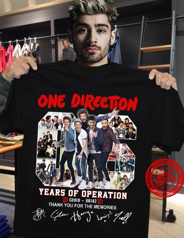 One Direction 06 Years Of Operation 2010-2016 Thank You For The Memories Shirt